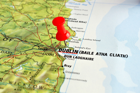 Close up of Dublin on a map with red pin photo