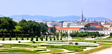 Panoramic view over the gardens and city of Vienna, Austria photo