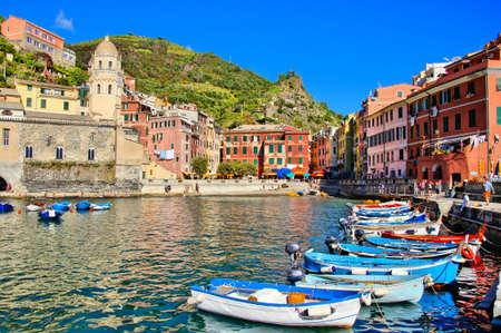 vernazza: Colorful harbor with boats, Vernazza, Cinque Terre, Italy