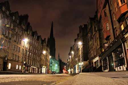mile: Night view of the Royal Mile, Edinburgh, Scotland