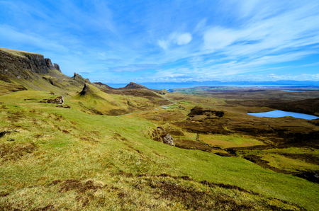 Scenic landscape at the Quiraing, Isle of Skye, Scotland photo