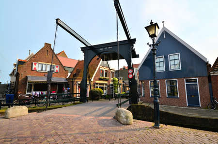 volendam: Traditional Dutch houses with lifting bridge, Volendam, Netherlands