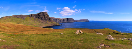 isle: Panoramic view of the scenic coastline in the highlands of Scotland Stock Photo