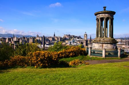 View over the historic center of Edinburgh Scotland from Calton Hill Stock Photo