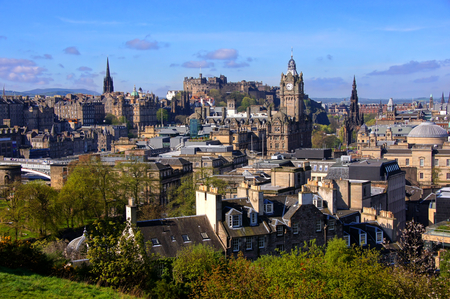 View over the historic center of Edinburgh Scotland photo