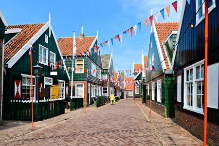 dutch flag: Flag filled street in the historic fishing village of Marken, Netherlands