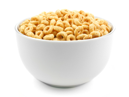 bowl of cereal: Bowl of oat cereal on a white background
