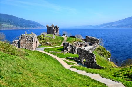 castle: Ruins of Urquhart Castle along Loch Ness, Scotland