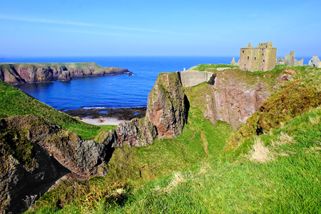 Scenic ruins of Dunnottar Castle along the coast of Scotland