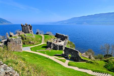 scotland: Ruins of Urquhart Castle along Loch Ness, Scotland