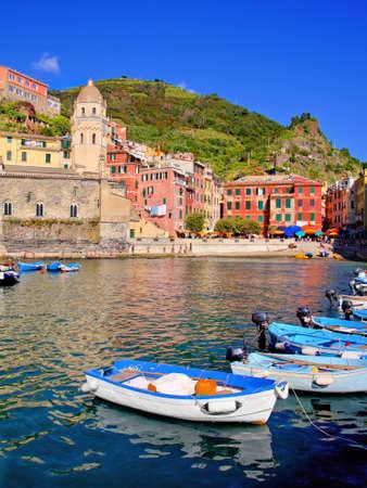 italian village: Harbor view of a Italian coastal village at the Cinque Terre