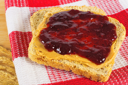 strawberry jelly: Peanut butter and jelly on whole wheat bread