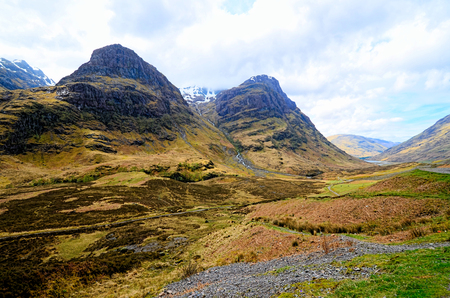Highland landscape of Glen Coe during early spring, Scotland photo