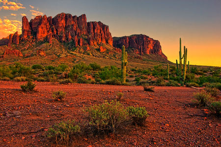 superstitions: Sunset view of the desert and mountains near Phoenix, Arizona, USA Stock Photo