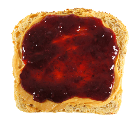 peanut butter and jelly sandwich: Isolated slice of bread with peanut butter and jelly spread Stock Photo