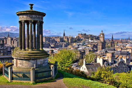 over the hill: Aerial view over the historic center of Edinburgh Scotland from Calton Hill Editorial