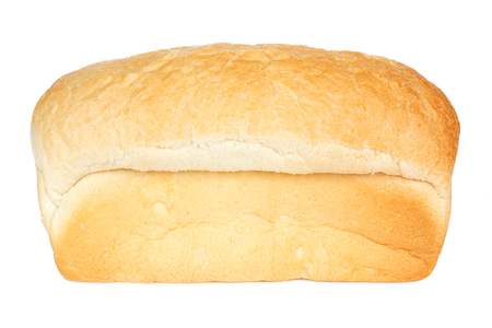 unsliced: Loaf of white bread isolated on a white background