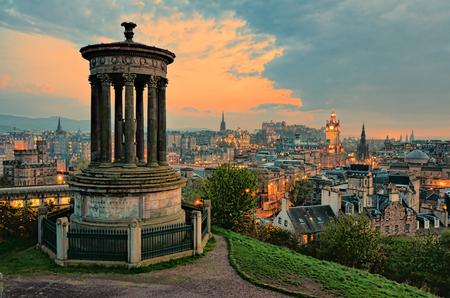 View over the historic center of Edinburgh Scotland at sunset photo