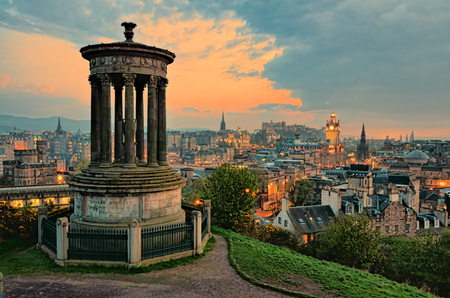 View over the historic center of Edinburgh Scotland at sunset Stock Photo