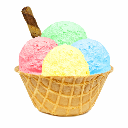 Four different colored ice cream scoops in a waffle bowl with wafer