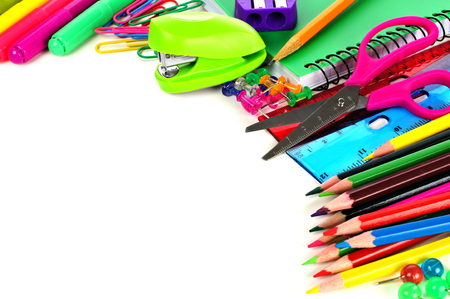 edges: Colorful school supplies corner border over a white background