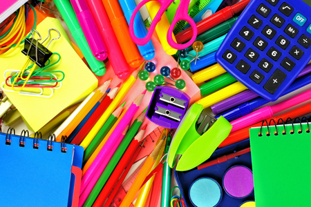 Full background of colorful school supplies photo