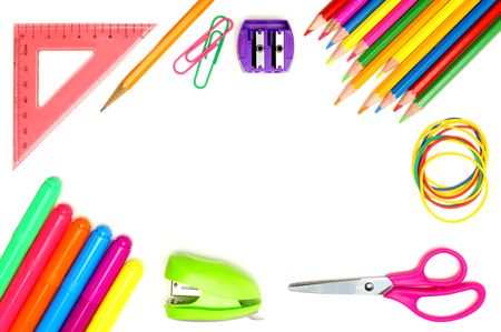 Colorful school supplies frame over a white background