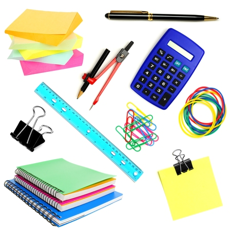 Variety of school or office supplies individually isolated on white  photo