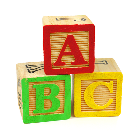 baby blocks: ABC toy wooden blocks isolated on a white background Stock Photo