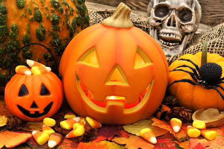 Halloween Jack o Lantern scene with candy and decor photo