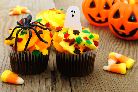 Halloween cupcakes and candy on wooden table photo