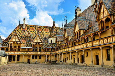 Iconic courtyard of Hotel Dieu, Beaune, France