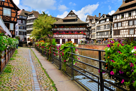half timbered: Quaint timbered houses of Petite France, Strasbourg, France Editorial