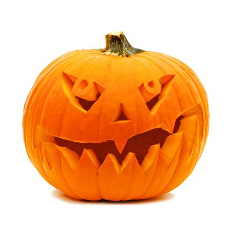 carved pumpkin: Single Halloween Jack o Lantern isolated on white