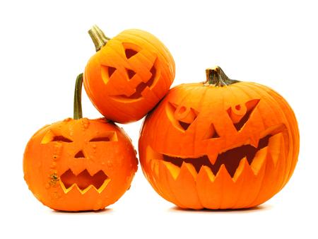 jack o lantern: Group of varied Halloween Jack o Lanterns isolated on white