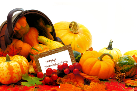 Harvest basket with spilling autumn vegetables and Happy Thanksgiving tag photo