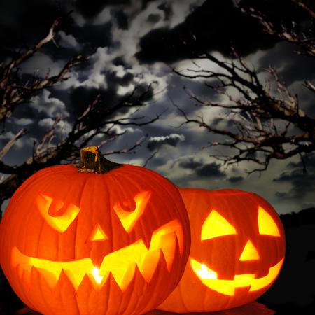 Halloween Jack o Lanterns with spooky trees and dark night sky photo
