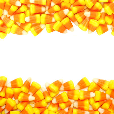 Halloween candy corn double border over white photo