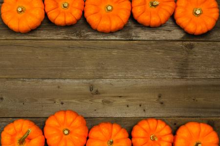 pumpkin border: Double edge autumn pumpkin border against aged wood