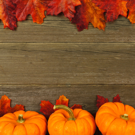 Autumn leaves and pumpkin frame against aged wood photo