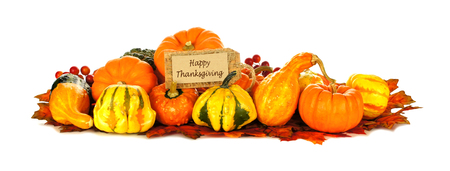 Happy Thanksgiving tag with a group of autumn pumpkins and vegetables over white