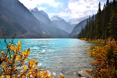 on shore: View of Lake Louise, Banff National Park, Canada with autumn colors