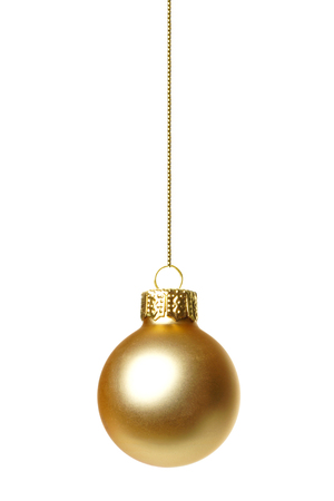 Single hanging gold Christmas ornament isolated on white Stock fotó