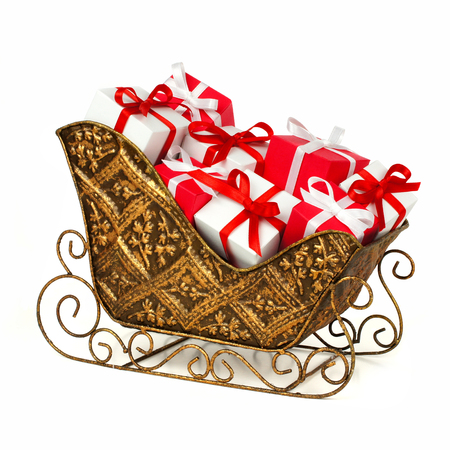 santa sleigh: Christmas sleigh filled with red and white gift boxes over a white background