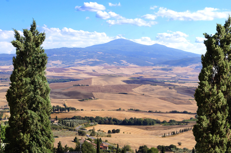 valdorcia: Classic Tuscan landscape view during summer from Pienza, Italy