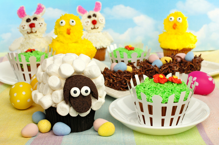 Colorful Easter cupcakes and treats display photo