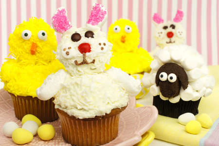 Fun Easter bunny, chick and sheep cupcake display photo