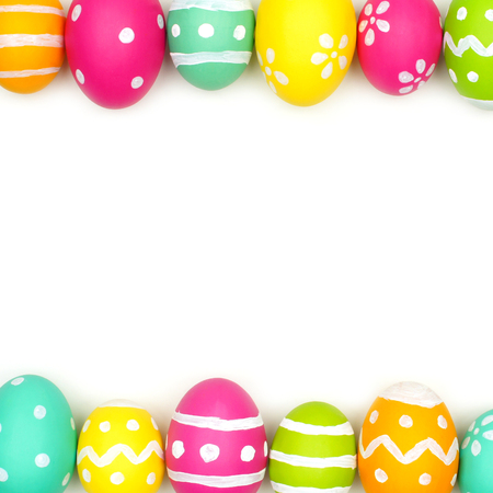 Colorful Easter egg double border against a white background