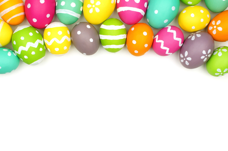 painted background: Colorful Easter egg top border against a white background