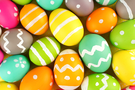 Easter background of colorful painted eggs